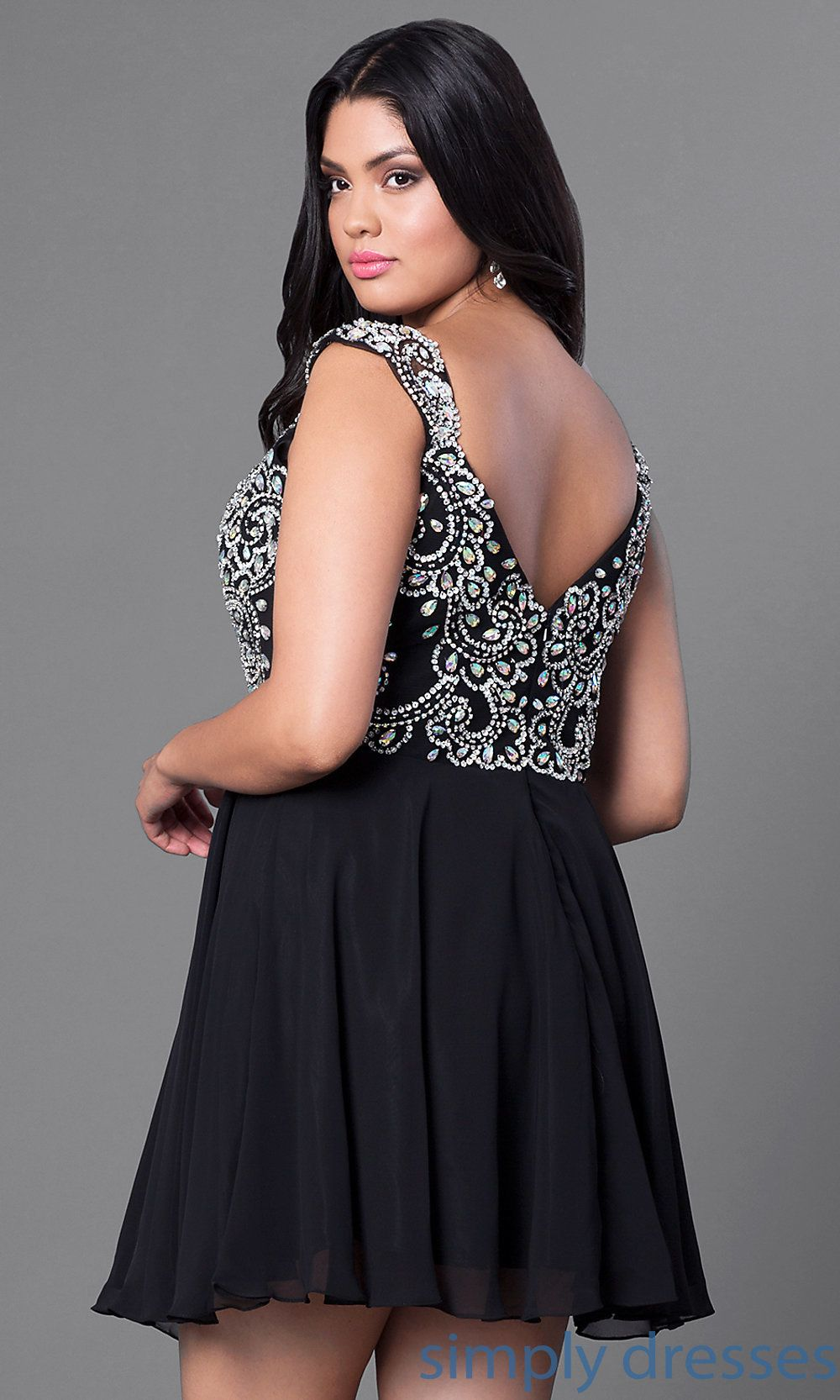 65d7c27a4b1 Cheap Plus-Size Short Prom Dress with Beaded Bodice