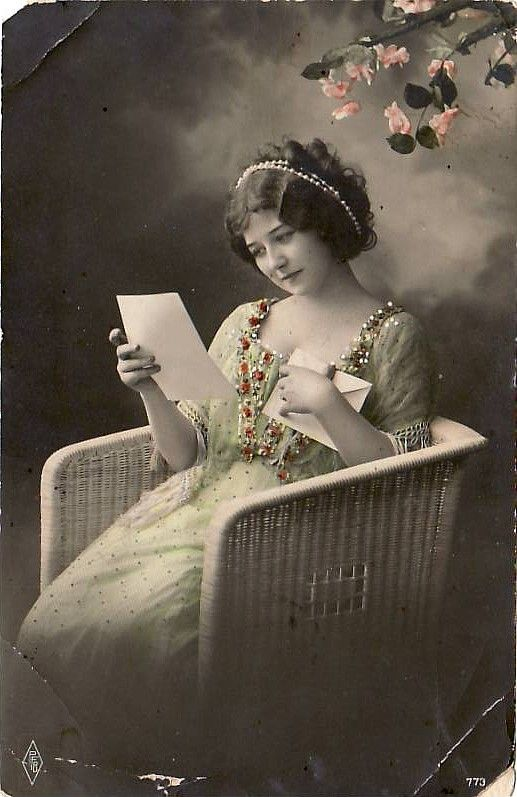 """Beautiful Lady on Wicker Chair Reading Letter. Pre-1920. """"I loved reading,  and had a great desire of attaining knowledge; but w… 