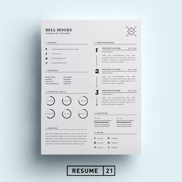 Minimal Designer Resume Template /CV Pinterest Template, Resume
