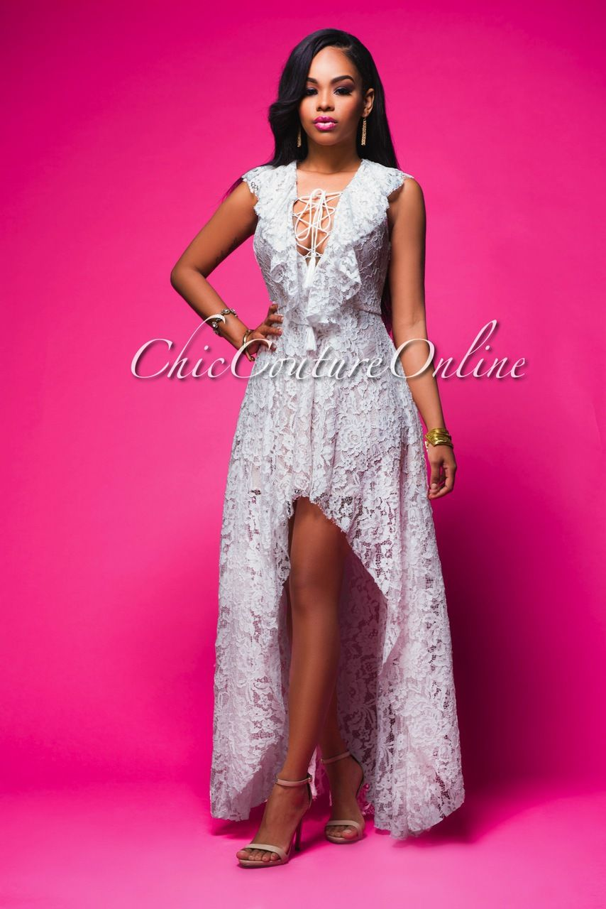 Chic Couture Online - Tamia White Lace Blush High-Low Maxi Dress ...