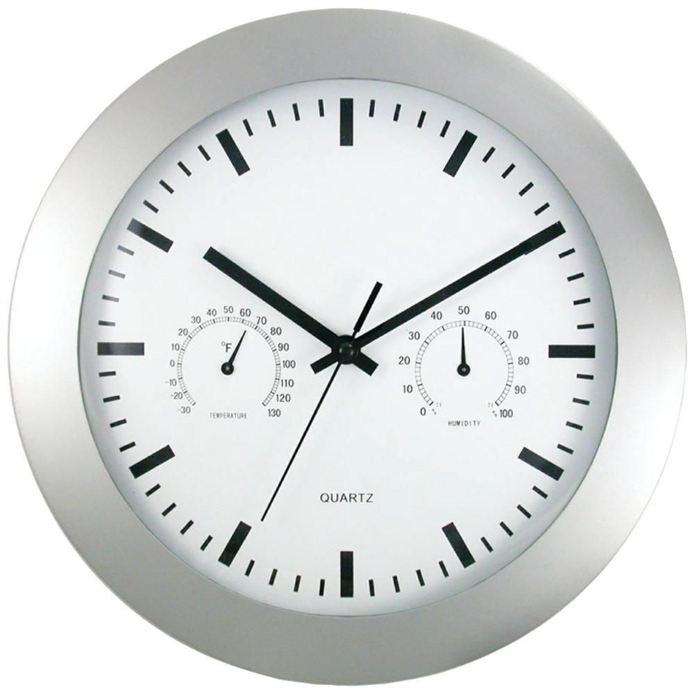 Timekeeper 6989 12 Round Wall Clock Weather Station 12 White Dial With Black Slash Marks Off White Case Temperat Round Wall Clocks Clock Wall Clock