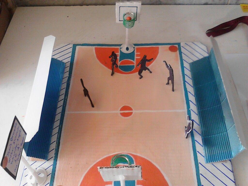 Maqueta Cancha De Basquetboll Decoración De Biblioteca Escolar Maquetas Escolares Maqueta De Voleibol