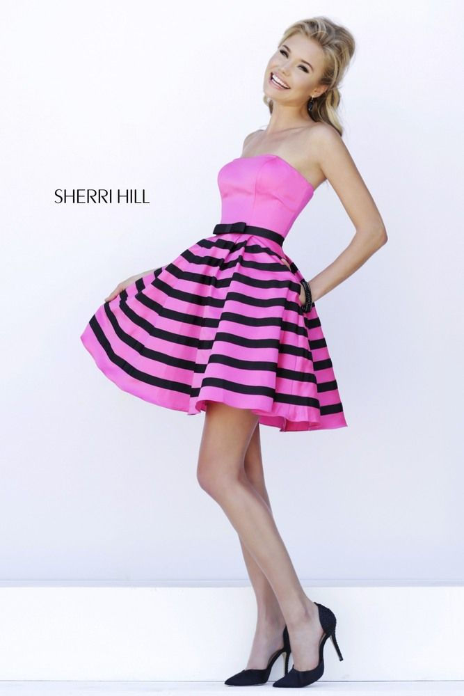 ... at the waist with black satin bow is the perfect interlude to the  striped 93cb59d3810a