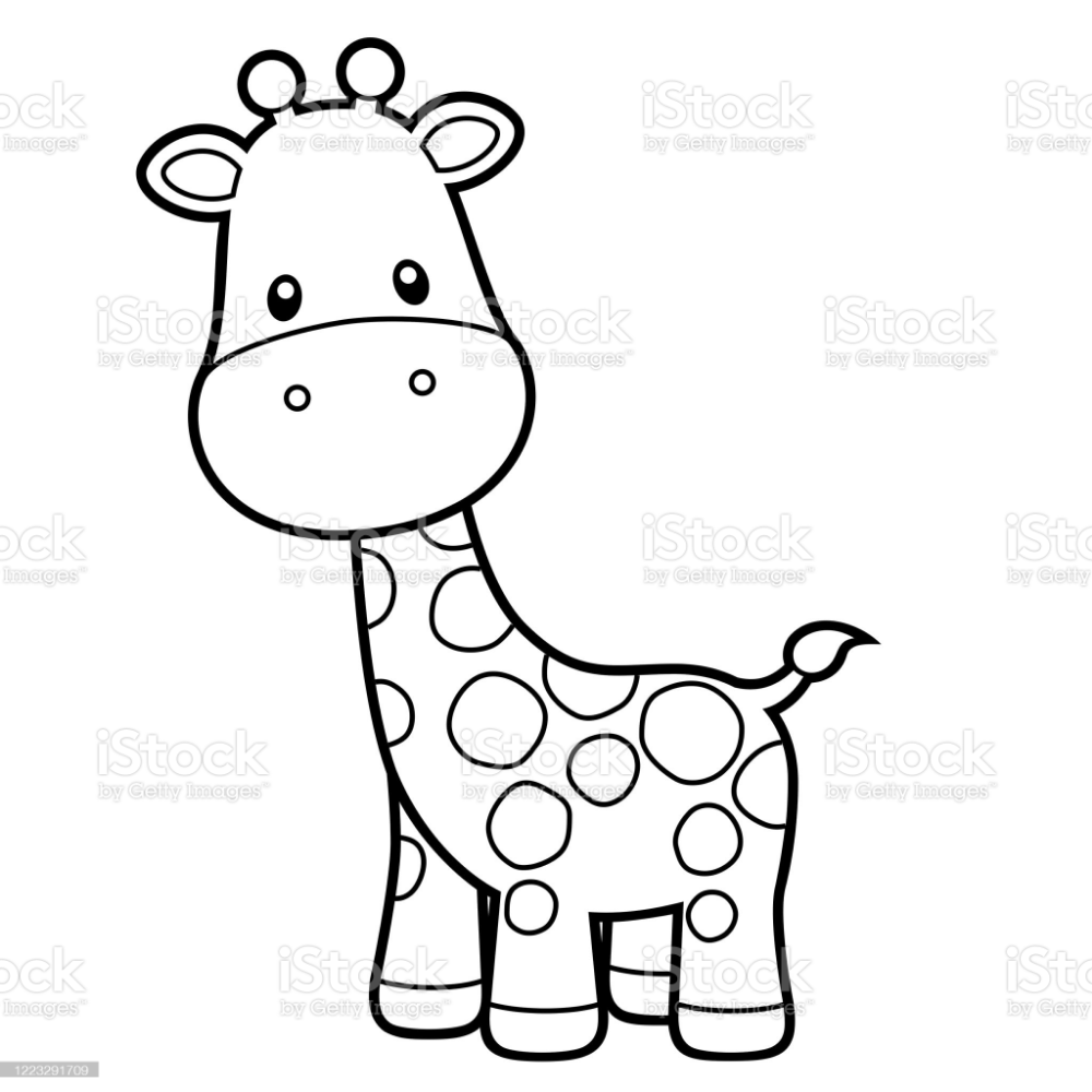 28+ Cartoon giraffe clipart black and white information