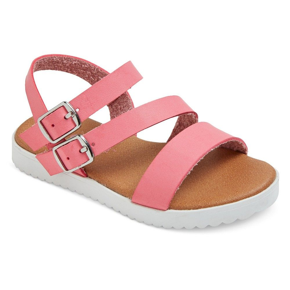 Toddler Girls/' Shaya Pink Strappy Footbed Sandals With White Bottom Cat /& Jack