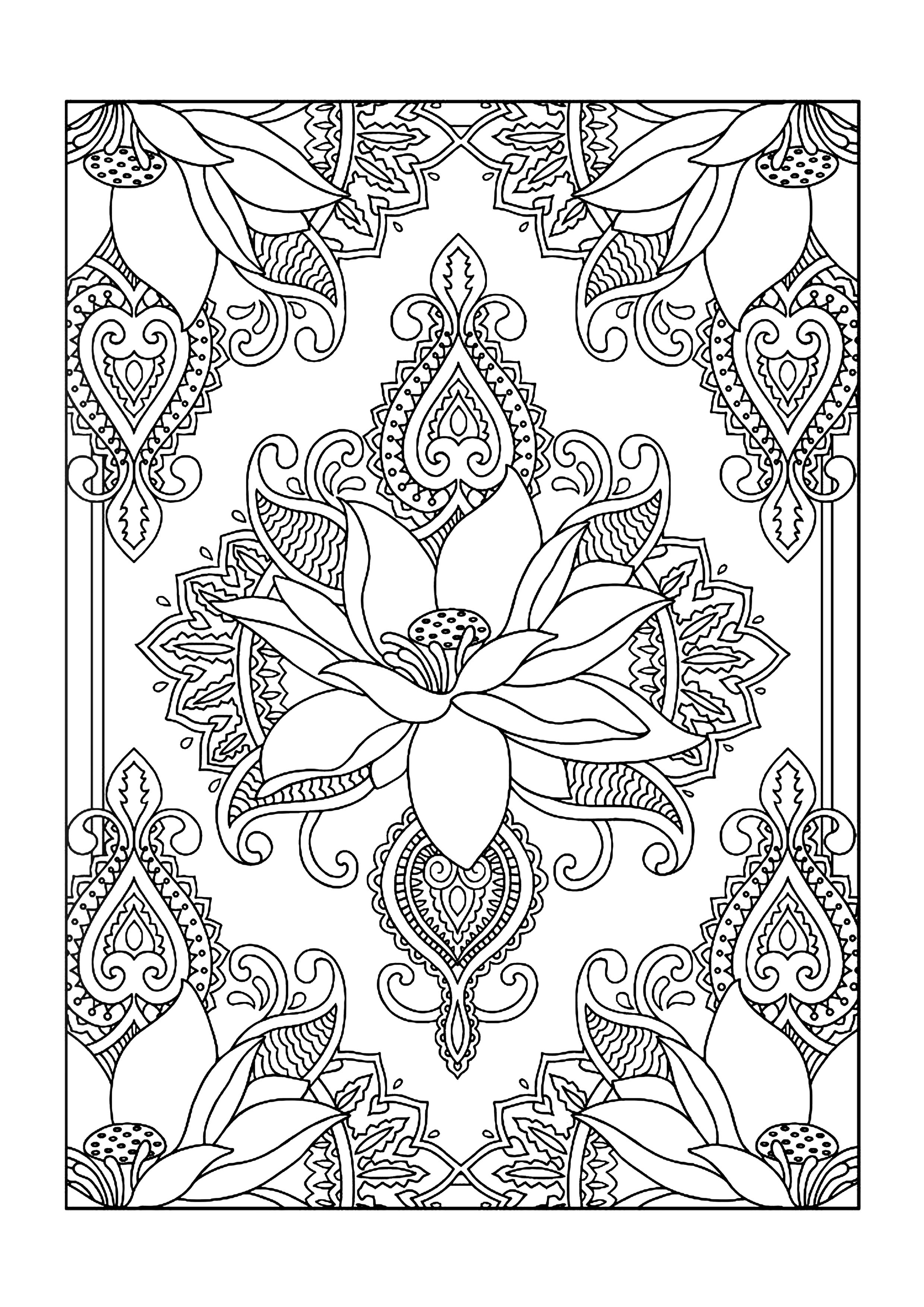 colouring books  free printable a4 size  lotus flower