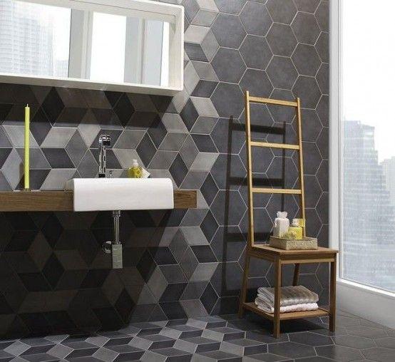 28 Gorgeous Modern Geometric Decor Ideas For Bathrooms Modern Geometric Decor Geometric Tiles Bathroom Geometric Decor