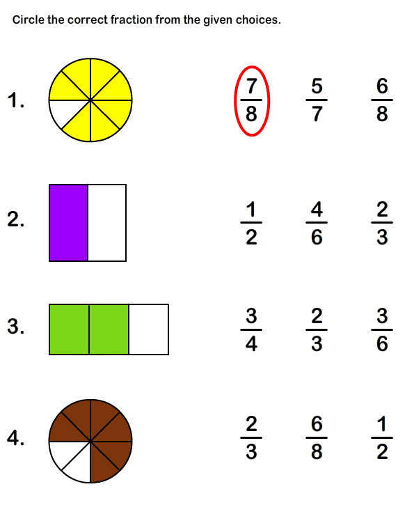 Math Worksheets, Grade2 Worksheets, Fractions Worksheet I