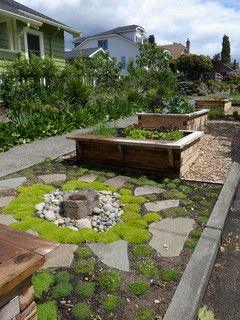 Little Water Feature And Raised Beds Traditional Landscape Backyard Garden Design