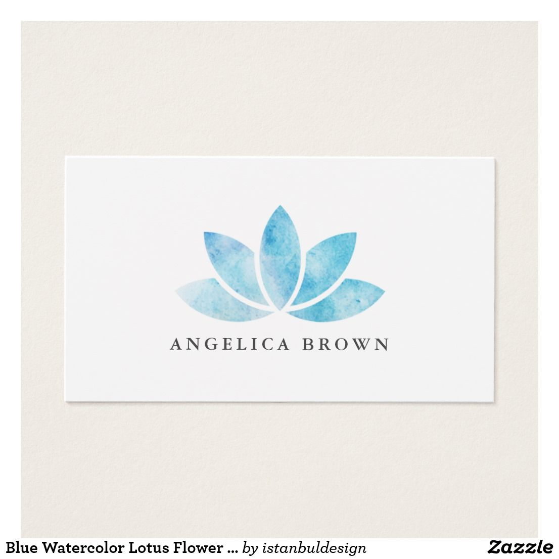 Blue Watercolor Lotus Flower Business Card | Business cards