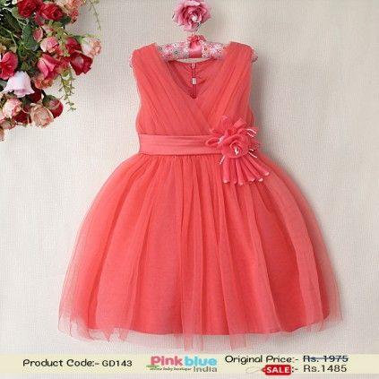 c182b2b6a8cba Princess Sleeveless Dress - Baby Girl Wedding Dress, Tomato Orange Party  Wear Dress, Flower Girl Dress, Baby Clothing India, 1st Birthday Outfits,  ...