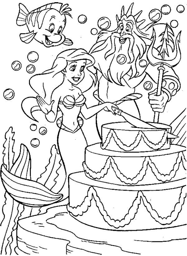 Ariel Having Her Birth Day\'s Cake Coloring Page | Princess Ariel ...