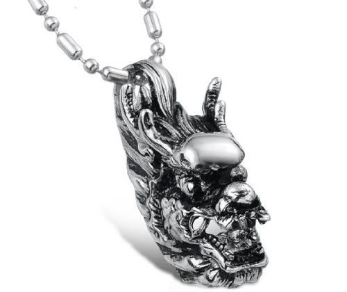 His Asian Style Special Sculpture Dragon Shape Titanium Pendant Necklaces in a Nice Gift Box-GX561