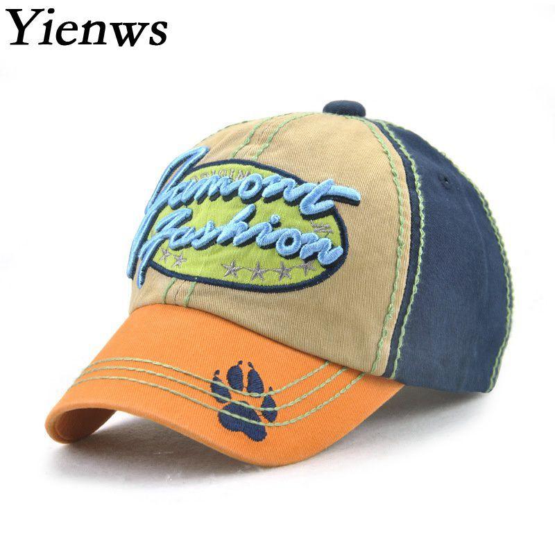 2ebc3a89060 Yienws Brand Cotton Boys Bone Jeans Chapeau Letter Casual Children Baseball  Cap Wholesale Kids Curved Brim