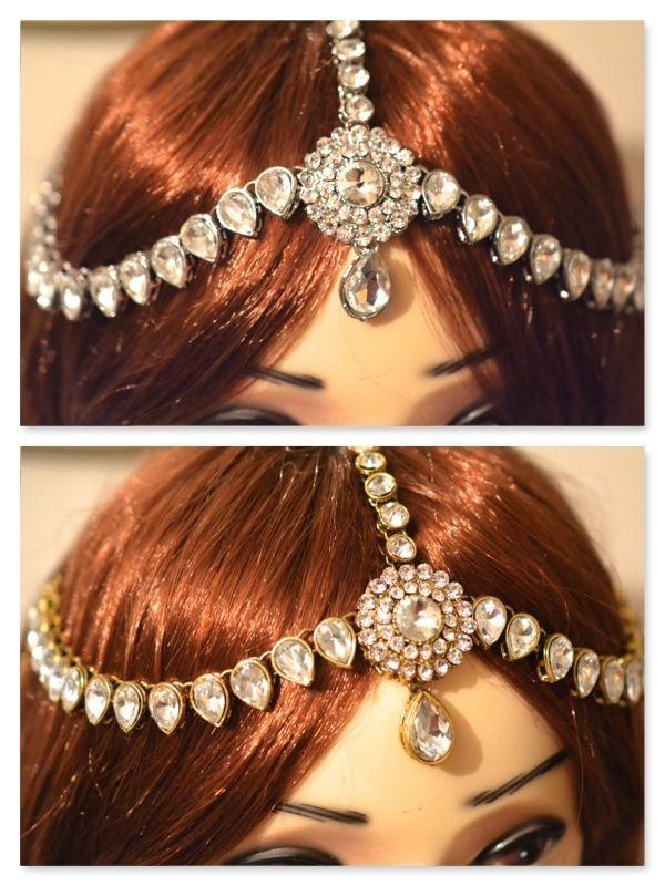 Diamante Crystal Head Chain Matha Tikka//Patti Golden or Silver Bridal//Wedding