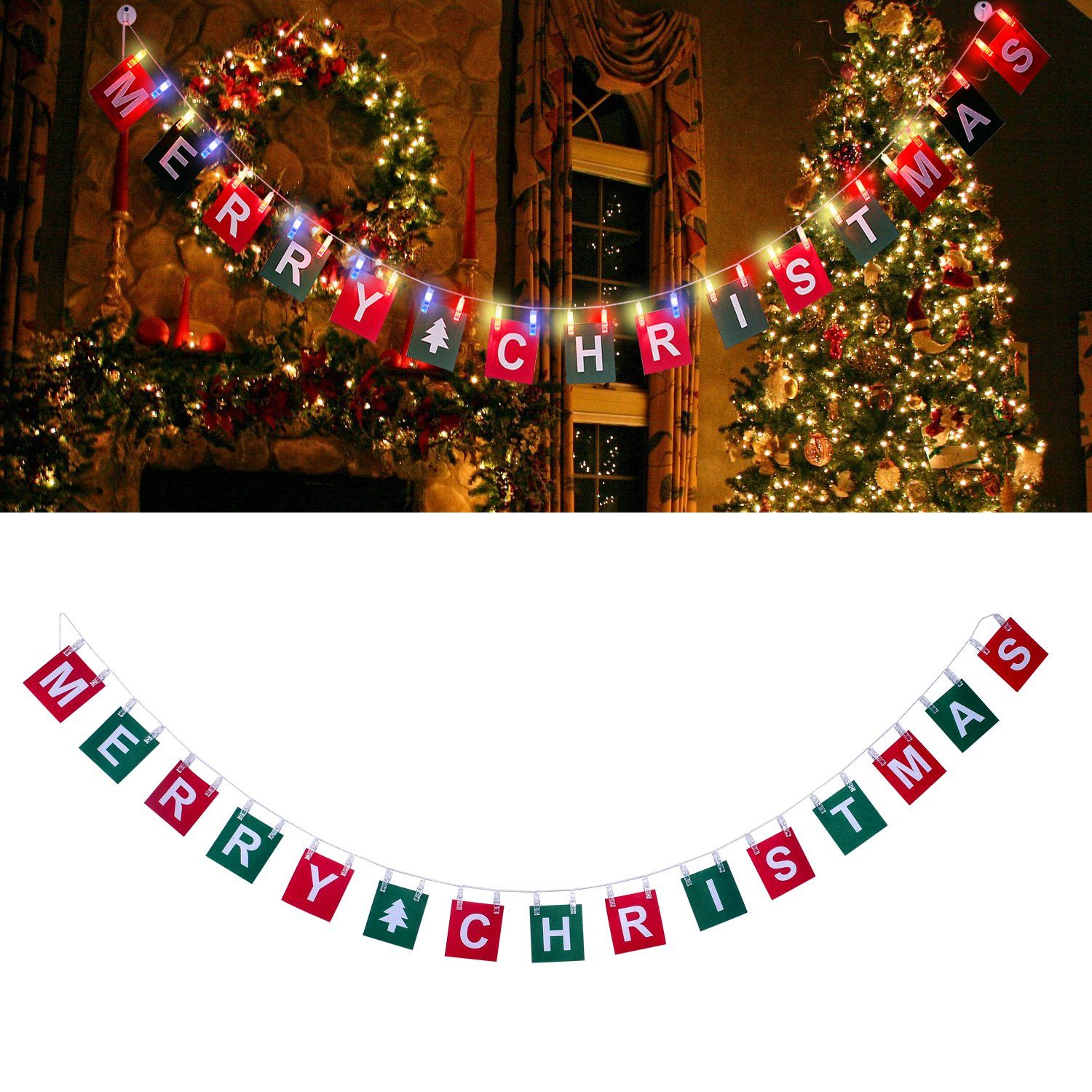 Merry Christmas Banner With Led Photo Clip String Lights