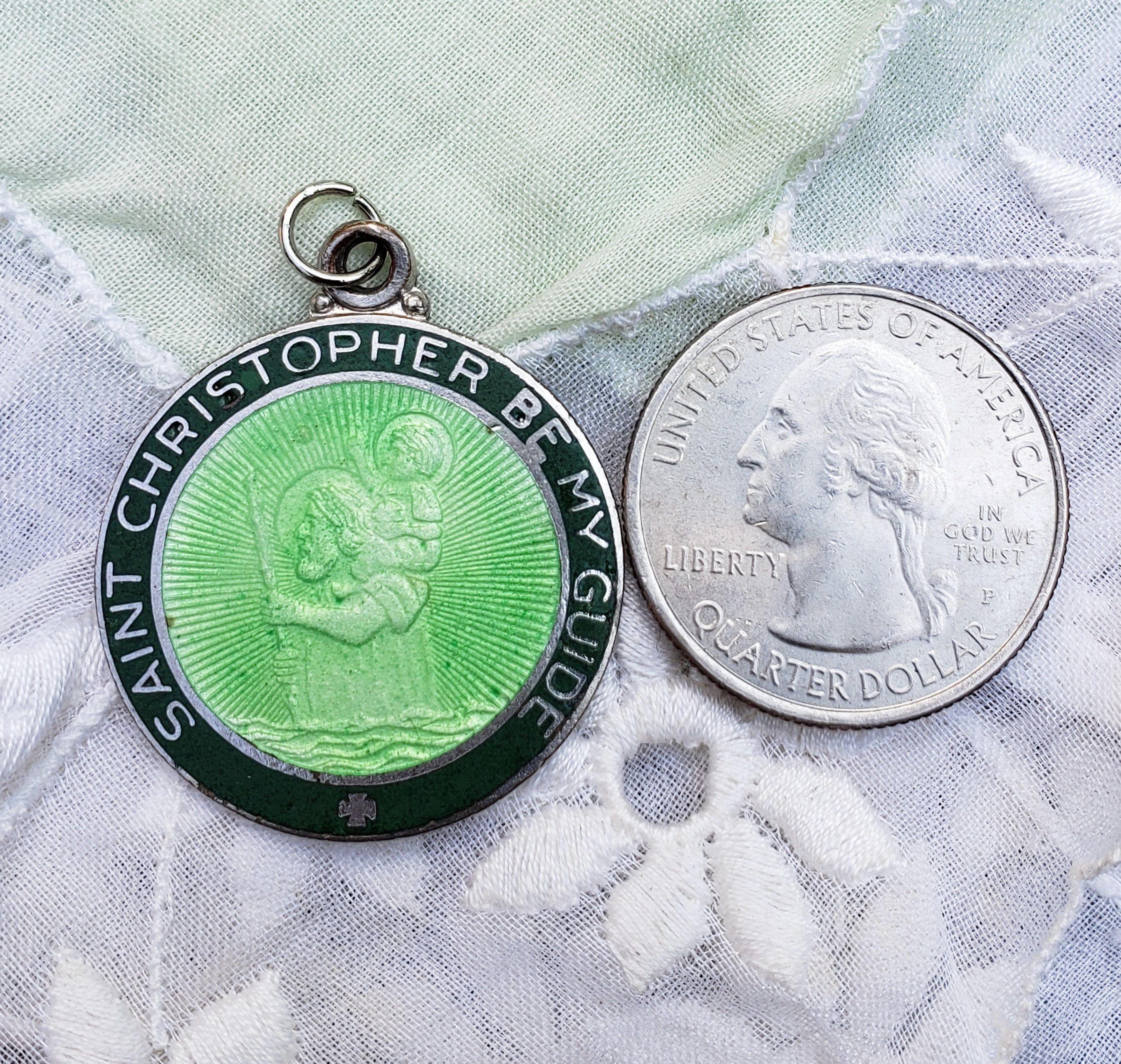 Vintage St Christopher Medal Green Enamel Guilloche Medal