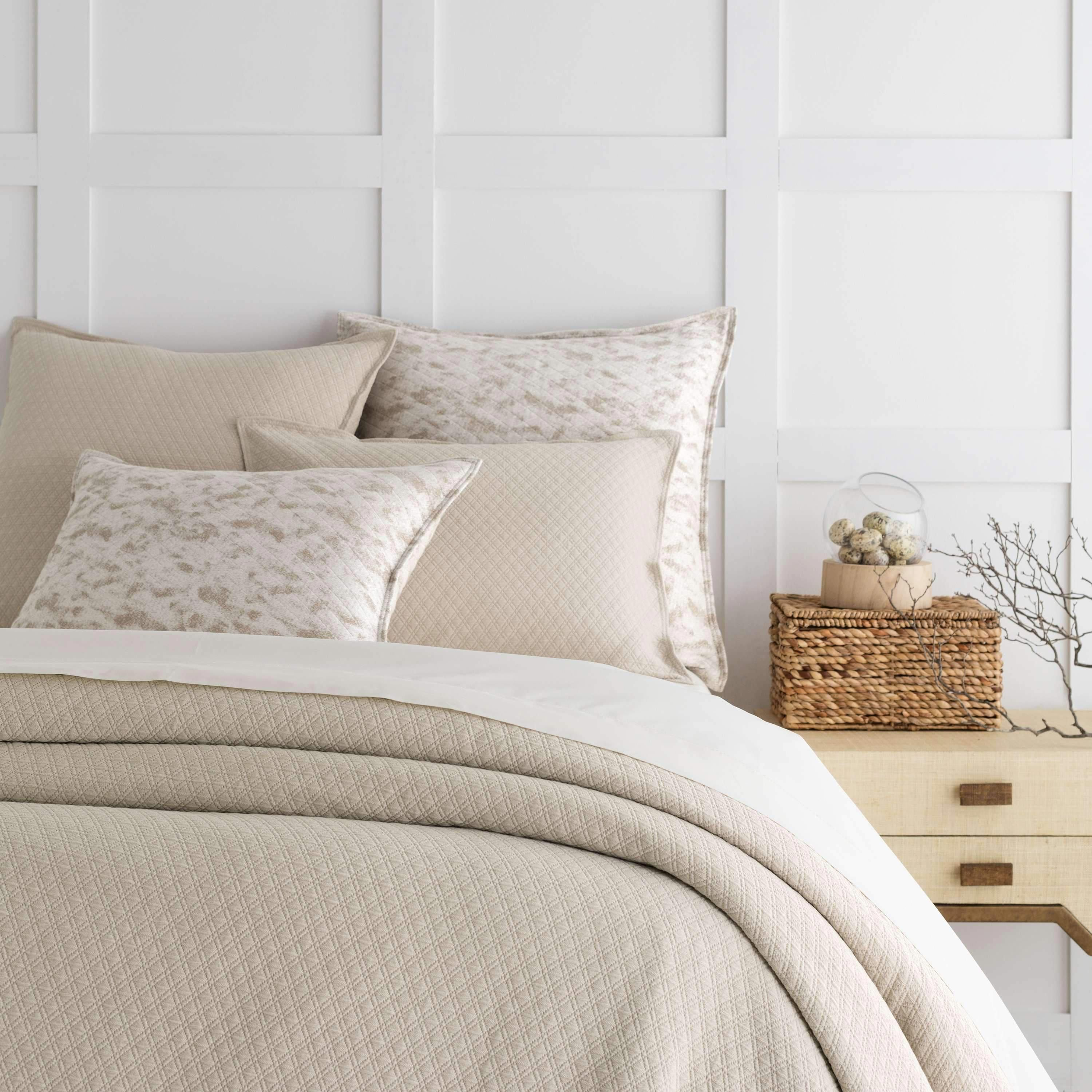 BeddingDiamond Sand Matelasse Coverlet design by Pine