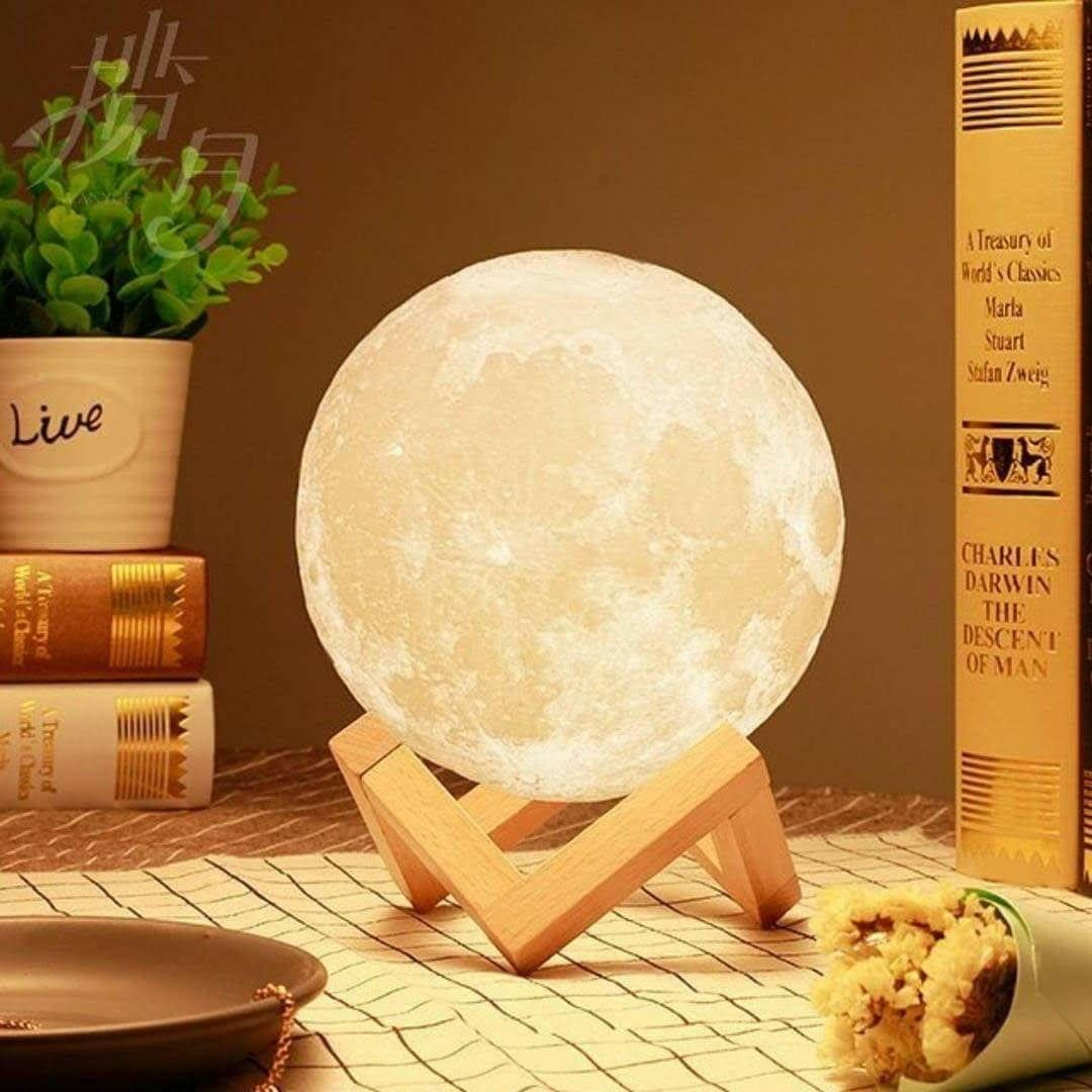 3d Space Light 3d Printing Stepless Dimmable Moon Lamp Shade Warm And White Touch Control Brightness With Usb Char Moon Light Lamp Night Light Lamp Night Lamps