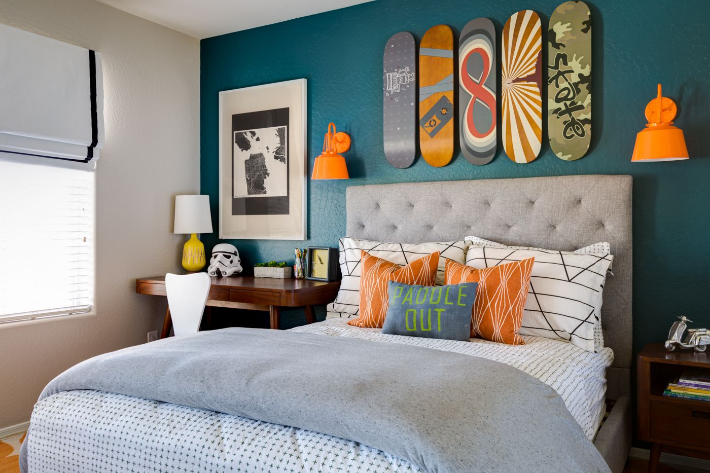 Skateboard Headboard project nursery - modern graphic skateboard-inspired big boy room