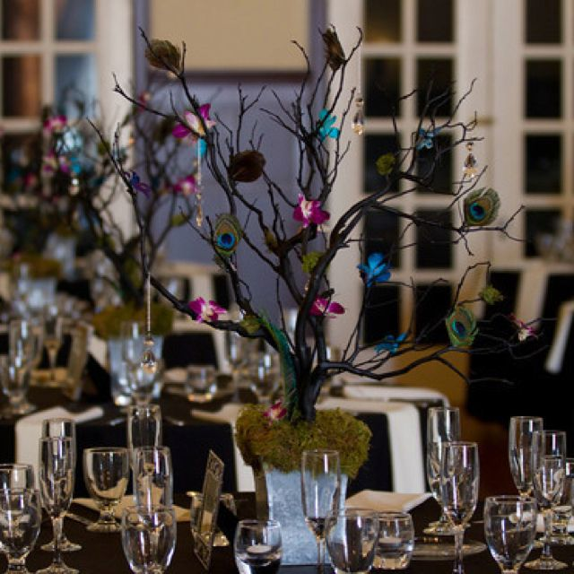 Peacock Wedding Centerpieces Ideas: Peacock Manzanita Tree Centerpiece
