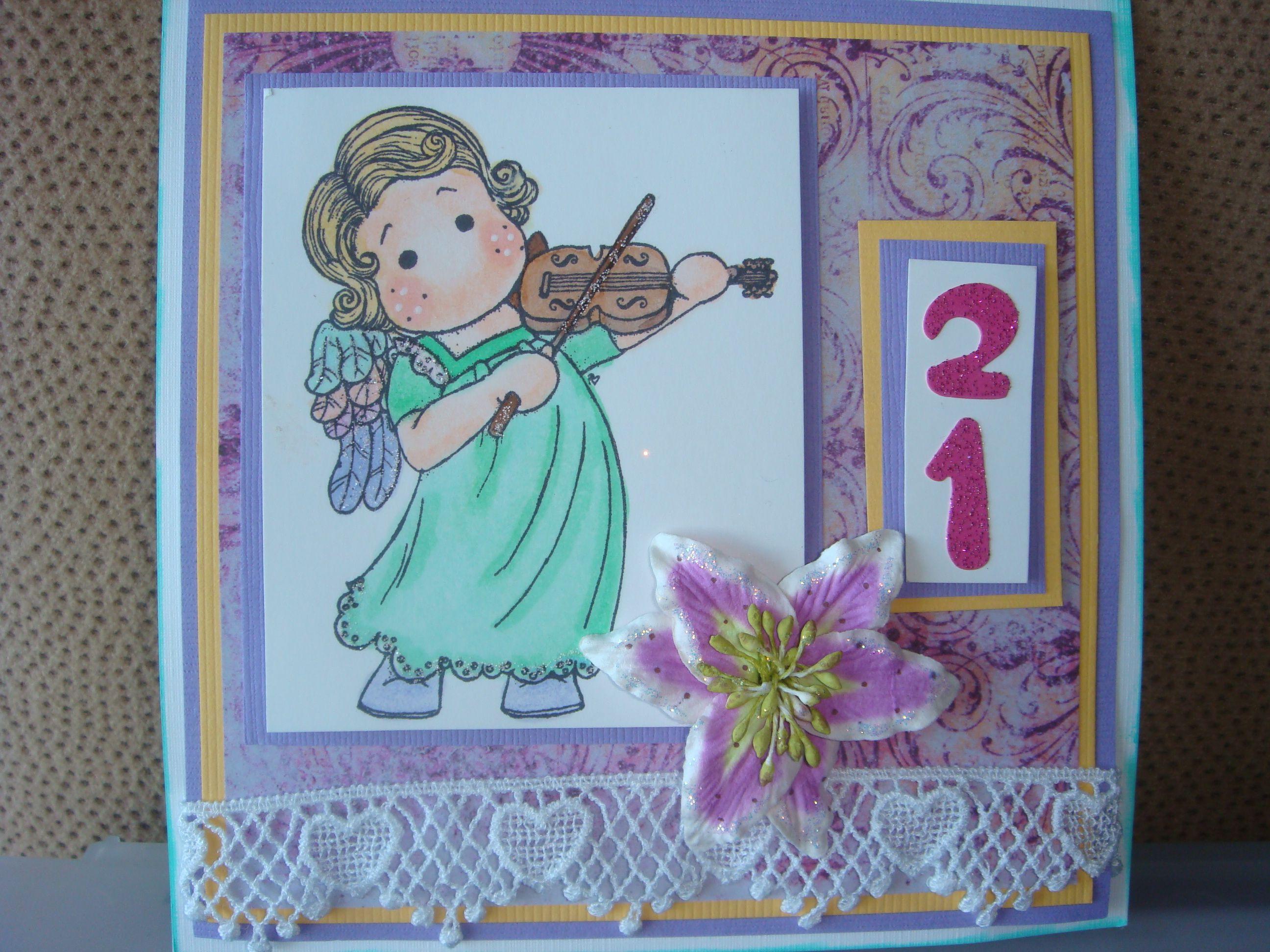 21st Birthday card, Magnolia Tilda with violin