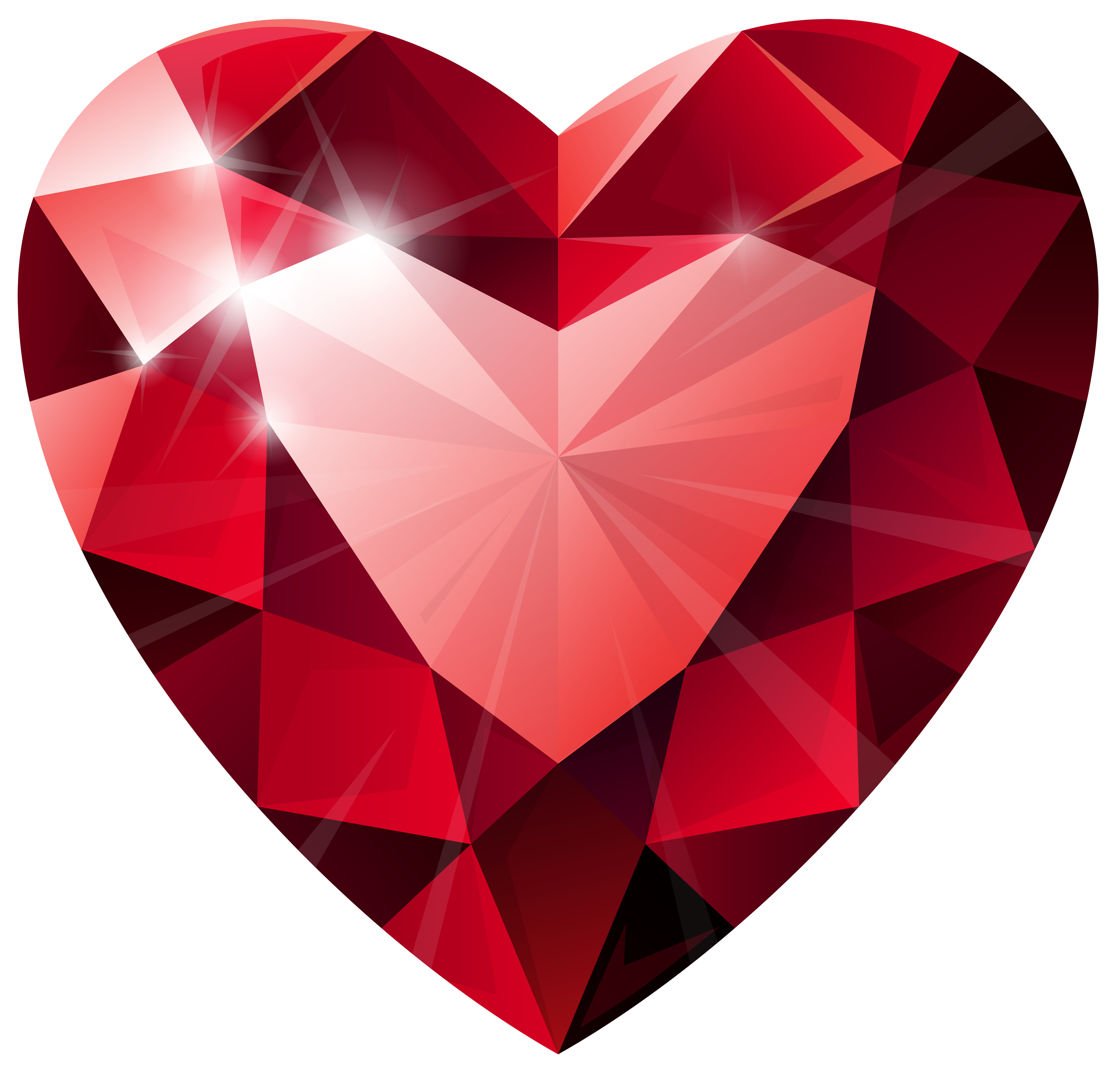 Diamond Heart Transparent PNG Clip Art Image | Red Heart ...