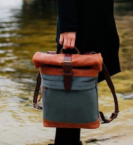 c97b6acc27 Wool felt and leather backpack Roll top backpack by Kruk Garage Overcoat  Collection Winter backpack