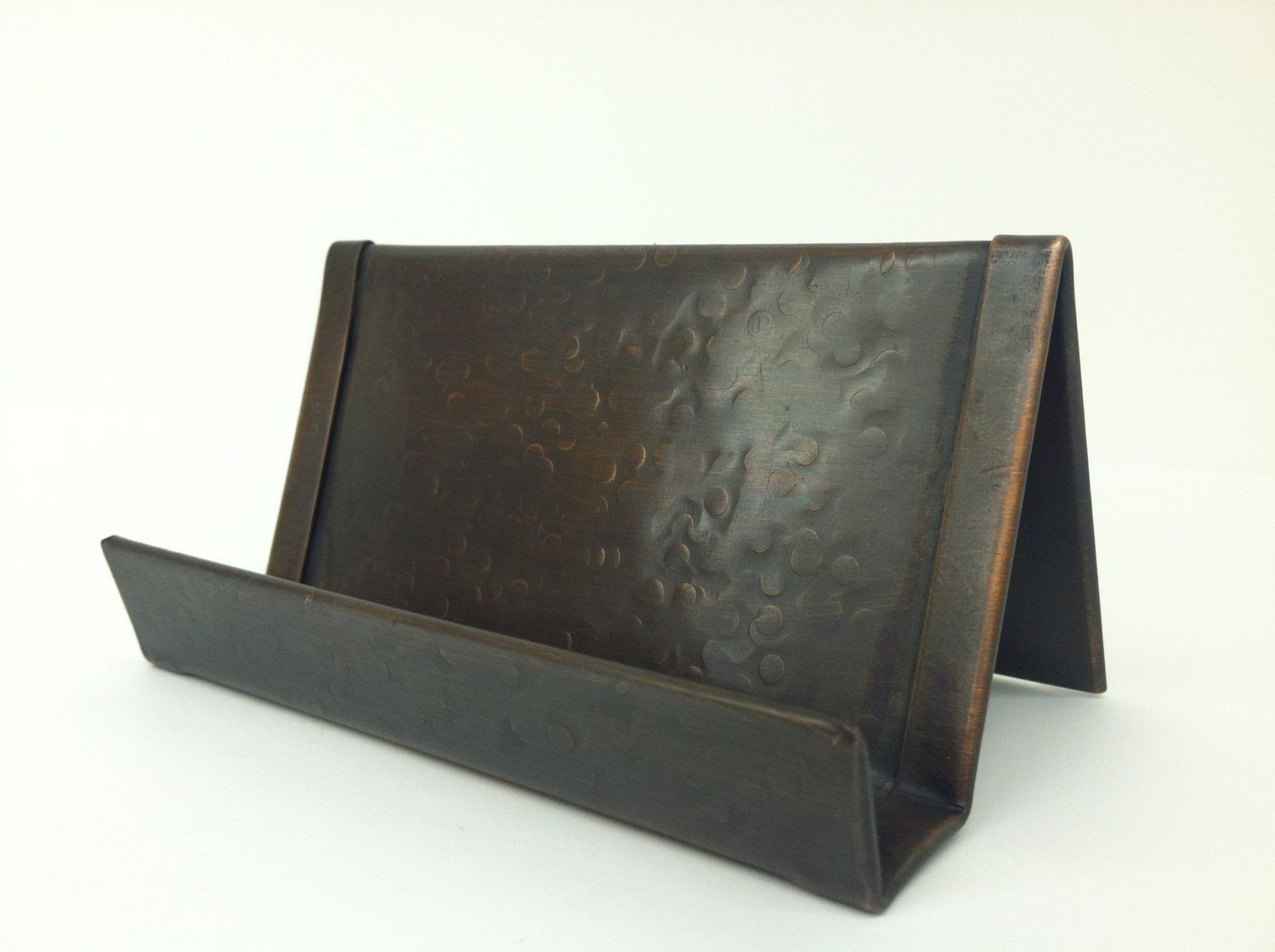 Round Hammered Copper Business Card Holder Bronze Patina | Hammered ...
