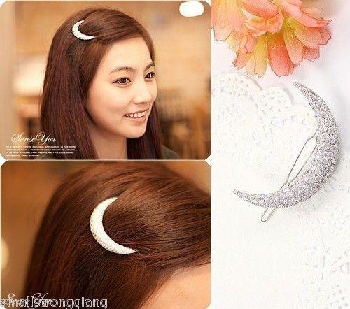 Fashion Korean Style Women Crystal Moon Hair Clips Barrette Hairpins