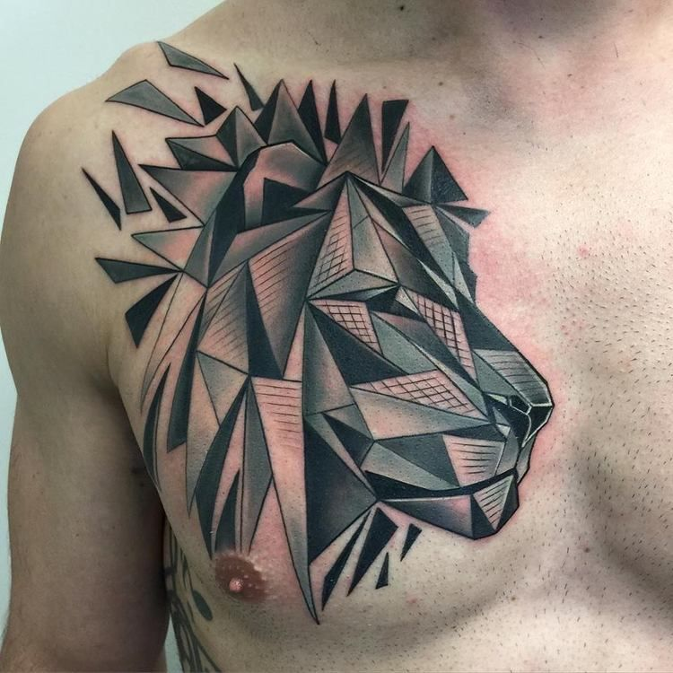 Abstract Lion Chest Tattoo By David Mushaney Geometric Lion Tattoo Lion Tattoo Design Lion Chest Tattoo