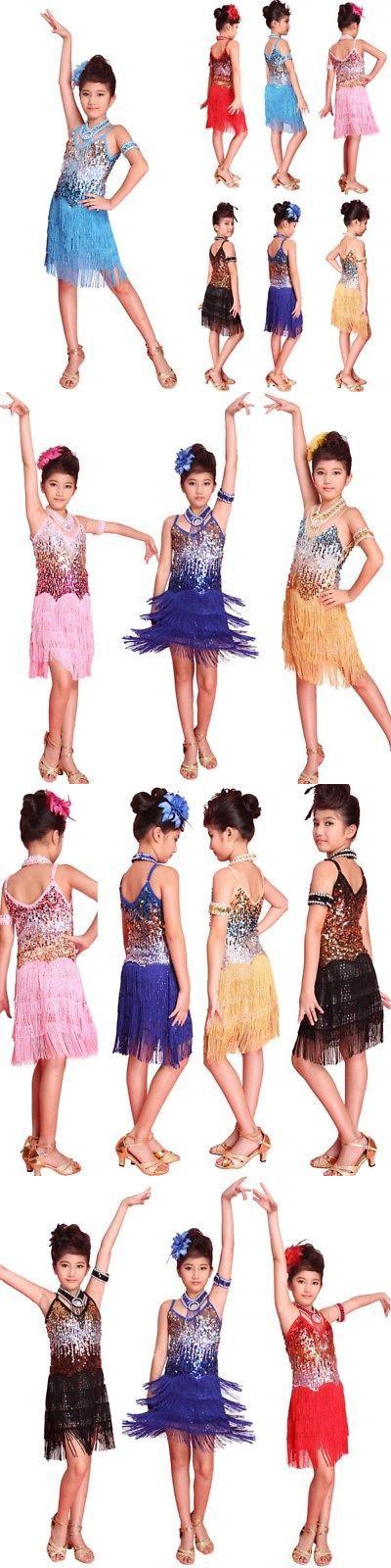 27cd314c6bd0 Dresses and Tutus 152352: Girls Latin Dance Dress Tango Sequin Dance  Children Fairy Dress Costume