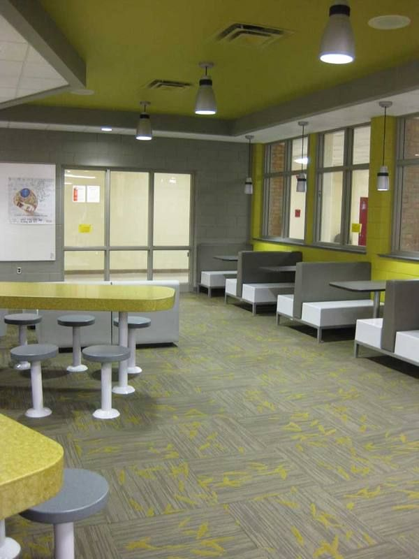 the lounge area of the cafeteria offers a more relaxed and quietthe lounge area of the cafeteria offers a more relaxed and quiet space in the café where students and staff can eat, meet or study