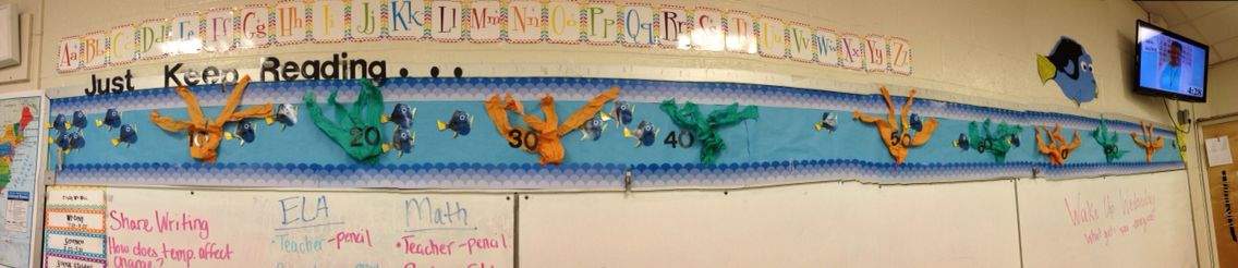 Best part of my room: Dory Reading goal bulletin board!