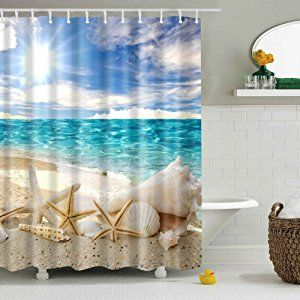 Abxinyoule Beach Starfish Shower Curtain Seashell Polyester Fabric Ocean Blue Sky Sunshin Fabric Shower Curtains Nautical Shower Curtains
