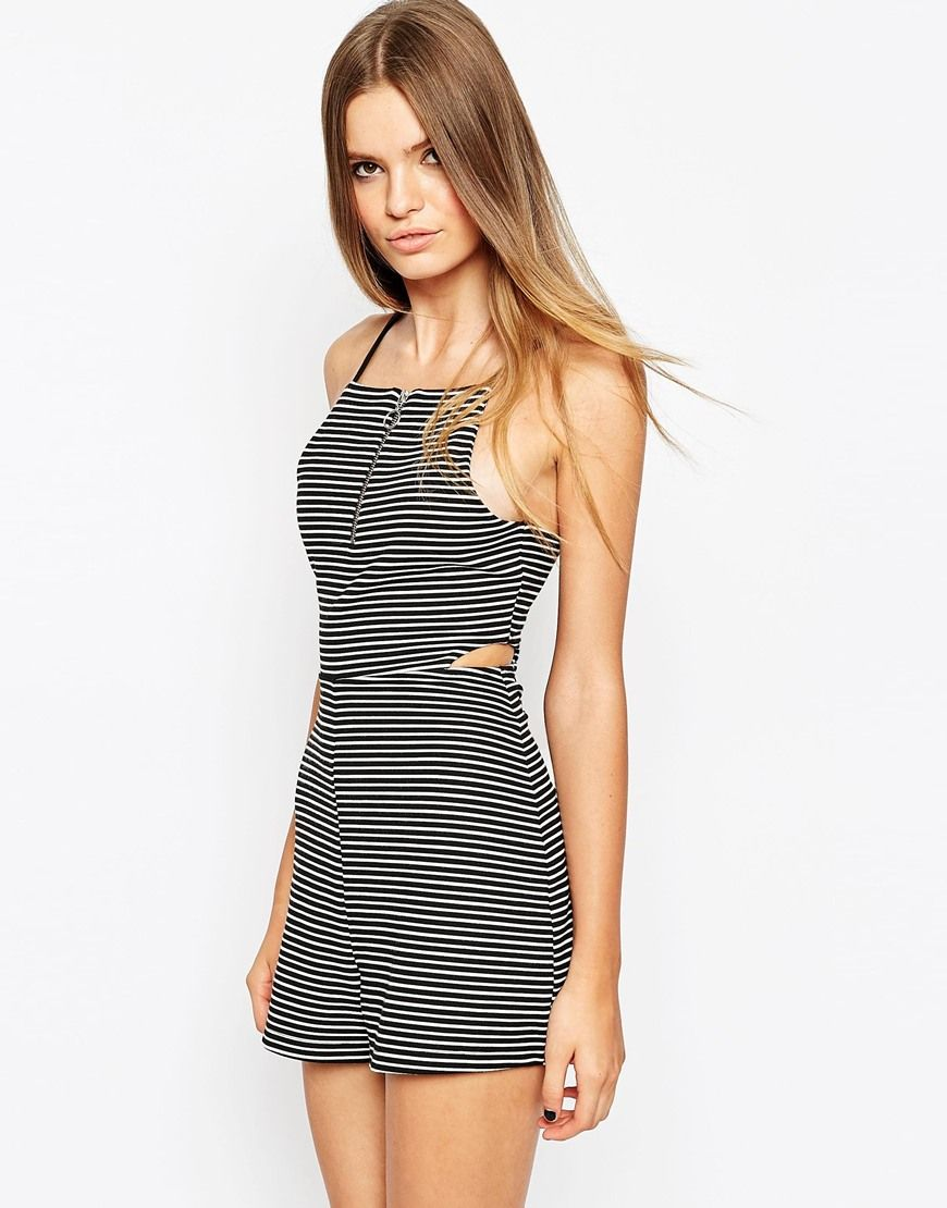 022cfb480a ASOS 90 s Playsuit in Stripe with Ring Pull