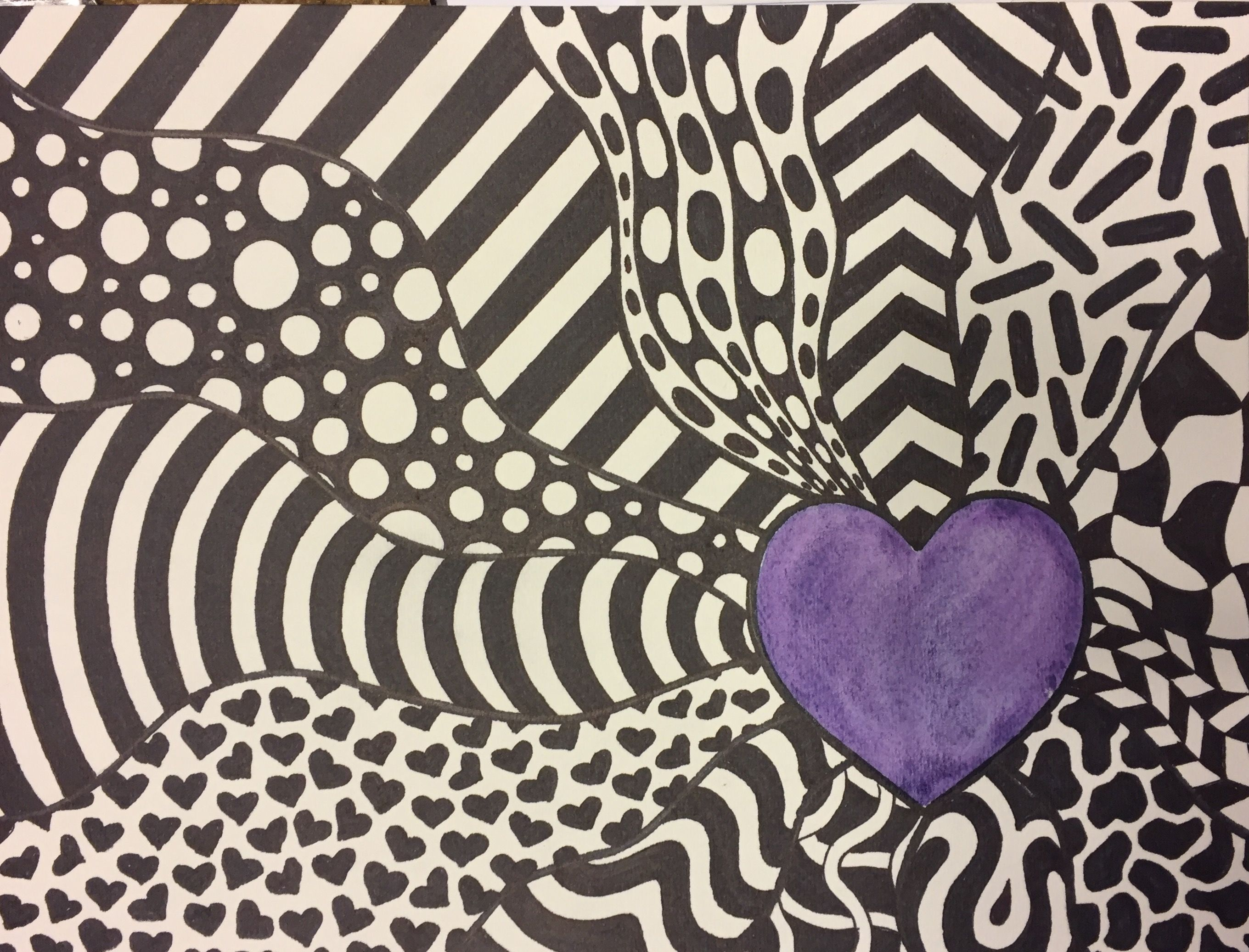 Middle School Art Project Contrast Pattern Emphasis Zentangle Heart Art Lesson Middle School Art Projects School Art Projects Elementary Art Projects
