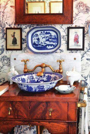 Blue And White Sink Bowl