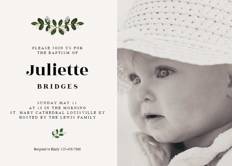 Soft Botanical Invitation Template Customize Add Text And Photos