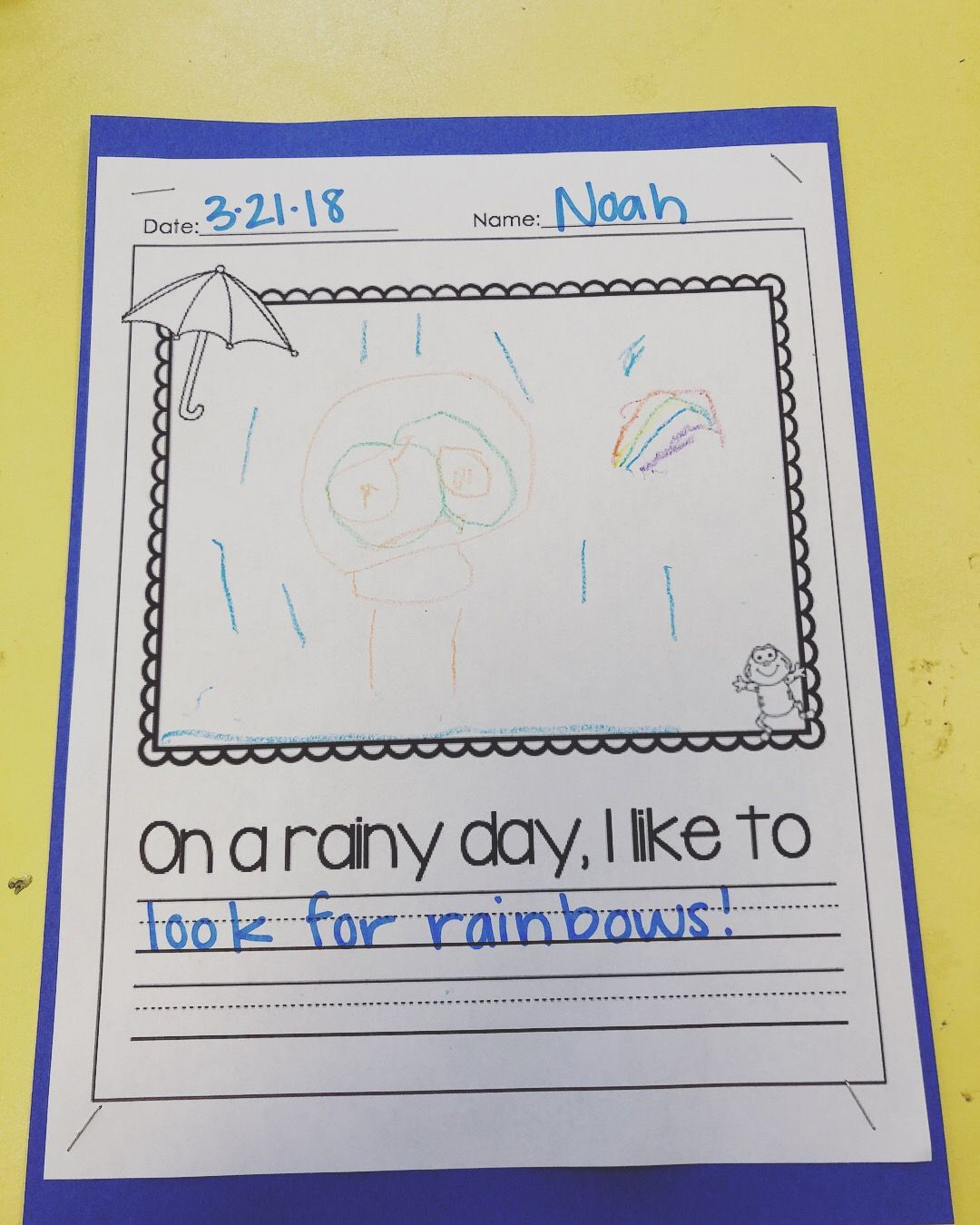 Rainy Day Writing Drawing Prompt Preschool Craft