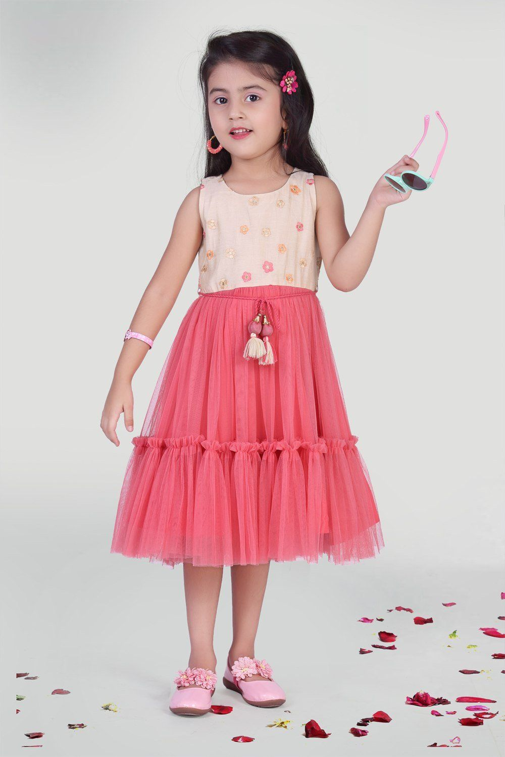 28 Girl's Polyester Frock in Pink   8 9 Year