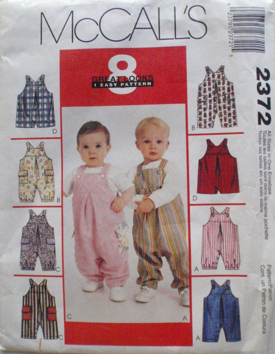 Infant and toddlers sewing pattern jumpsuit and overalls with infant and toddlers sewing pattern jumpsuit and overalls with snap crotch mccalls 2372 sizes s m l xl weight 13 24 lbs uncut jeuxipadfo Choice Image
