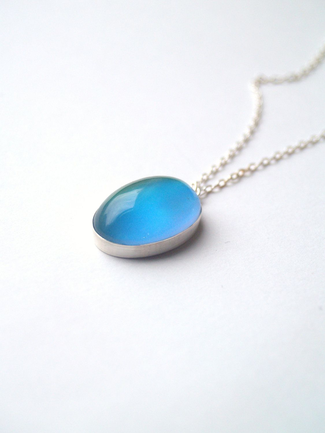 Mood necklace large sterling silver with color changing stone mood necklace geenschuldenfo Image collections