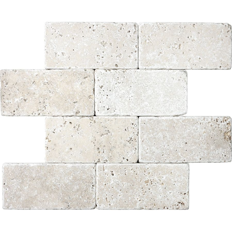 Anatolia Tile 8 Pack Chiaro Tumbled Travertine Natural Stone Travertine Wall Tile Common 3 Stone Tile Wall Stone Backsplash Kitchen Natural Stone Backsplash