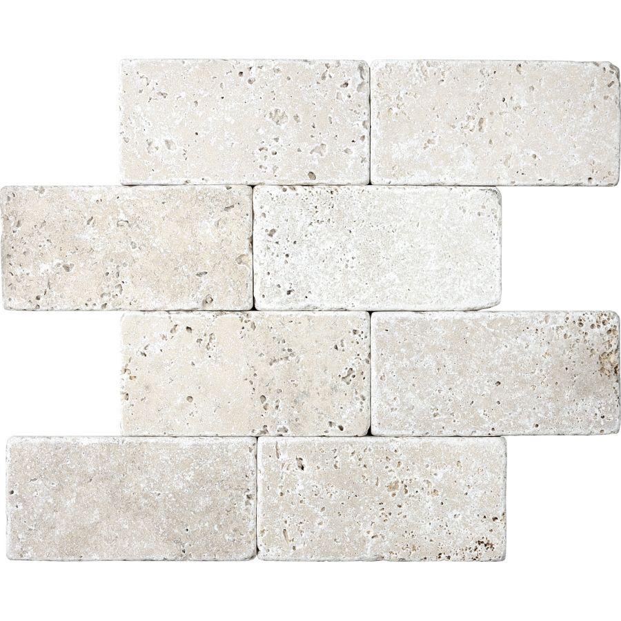 Shop 8 pack chiaro tumbled marble natural stone wall tile common anatolia tile chiaro tumbled travertine natural stone travertine wall tile common x actual x dailygadgetfo Choice Image