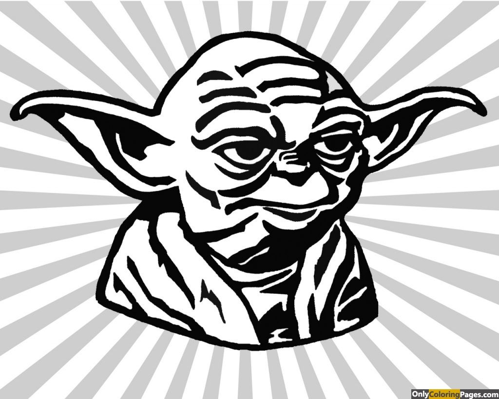 Yoda Face Coloring Pages 01 Drawing Stars Star Wars Silhouette