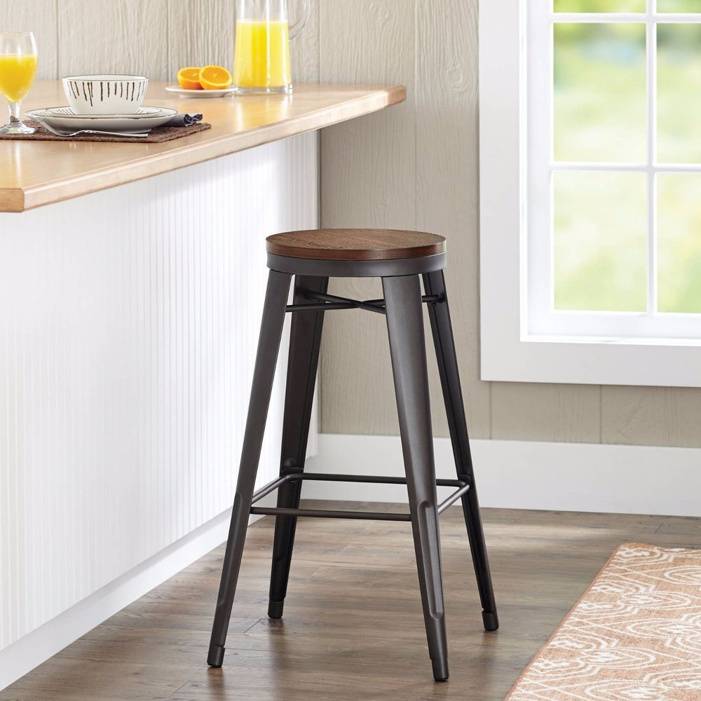 Astonishing Cafe Barstool Weathered Wood Seat Stool Metal Kitchen Chair Gmtry Best Dining Table And Chair Ideas Images Gmtryco