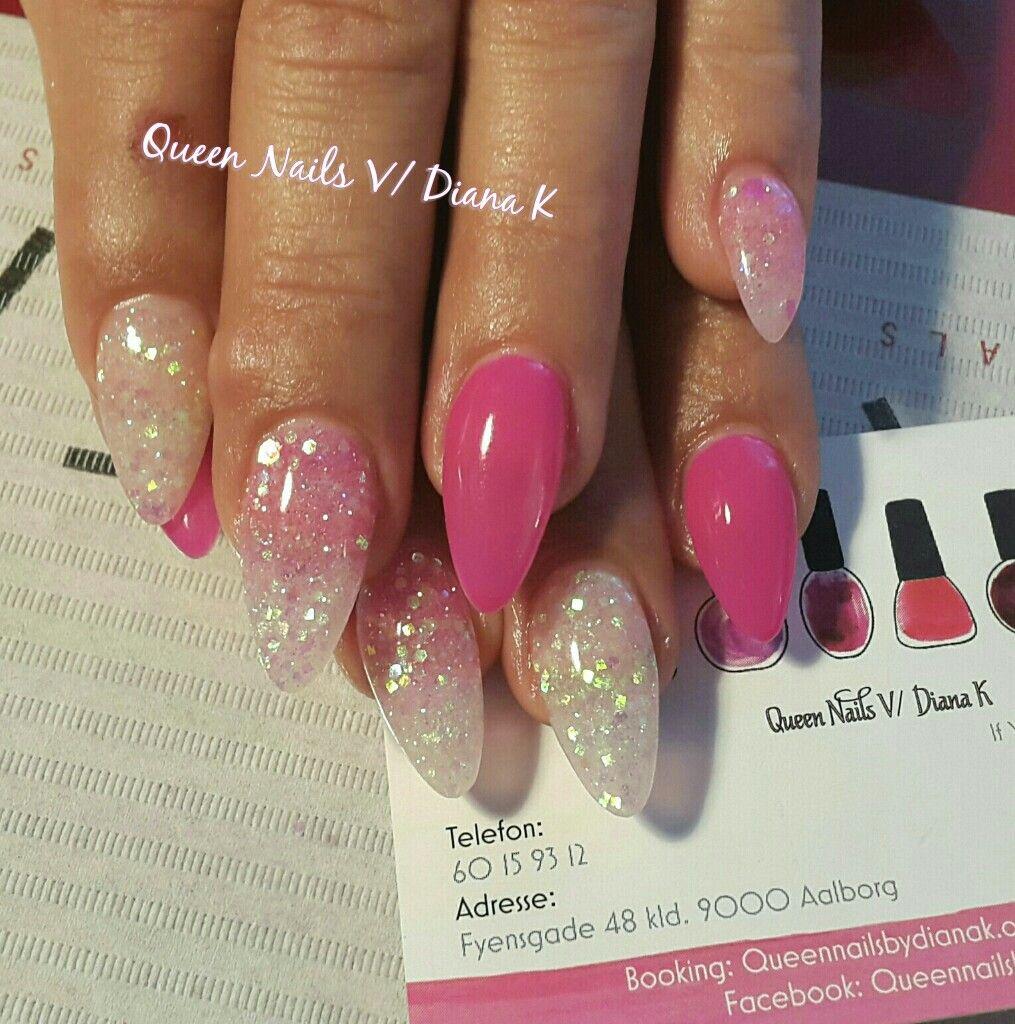 Love, gel, nails, negle, gele, glitter, pink, White, hvide, gelnails ...