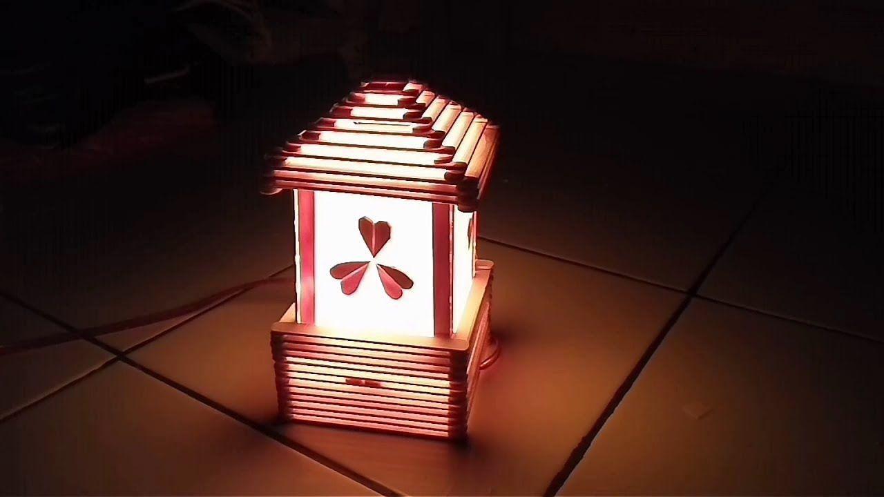 Diy Cara Membuat Lampu Tidur Dari Stik Es Krim Lampu Tidur Lampu Es Krim Kerajinan stik es krim lampu