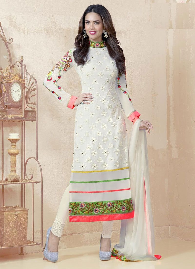 White Faux Georgette & Chiffon Party Wear Churidar Suit Product Code :  FZ1801-EGD Shop Now :  http://www.cfashionbazaar.com/DetailPage.aspx?proid=4186&Item=13